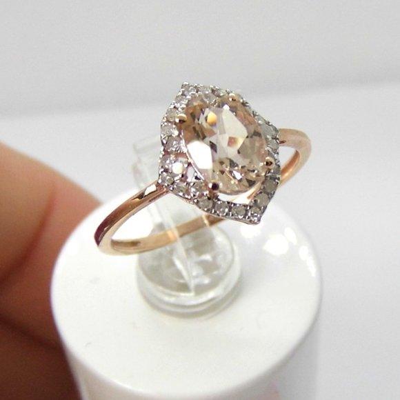 Morganite & Diamond 10KY Gold Ring